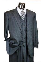 Mens Charcoal Pinstripe 3 Piece 2 Button Italian Designer Suit Flat Front