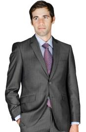 Slim Fit Charcoal Stripe ~ Pinstripe Wool and Silk Blend Suit