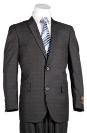 Charcoal Windowpane 2 Button Mens Slim Cut Suit