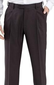 & Chruch Mens 100% Wool Pleated Dress Pants Charcoal unhemmed unfinished bottom - Cheap Priced Dress Slacks