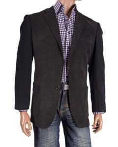 Fancy Cheap Blazers / Sport coat / For Men on Sale Knit Sleeve Chenille Black Blazer