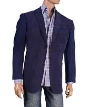 Fancy Cheap Blazers / Sport coat / For Men on Sale Knit Sleeve Chenille Navy Blazer