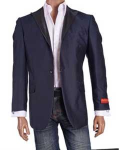 Fancy Cheap Blazers / Sport coat / For Men on Sale Navy Blue Peak Lapel Blazer