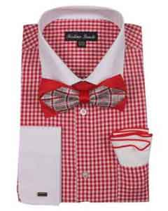 Checks Shirt Red French Cuff With White Collared Contrast  High Fashion Bowtie And Handkerchief White Collar