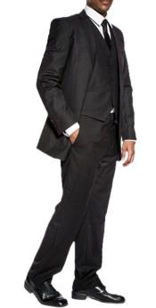 Mens classic black slim fit 3 piece wedding prom vested suit