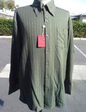 Mens classic stripe olive long sleeve