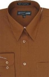 Brown  Mens Dress Cheap Priced Shirt Online Sale