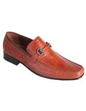 Mens Cognac Casual Slip On Loafer Genuine Lizard Los