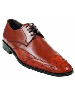 Ostrich Full Quill Skin Cognac Dress Shoe