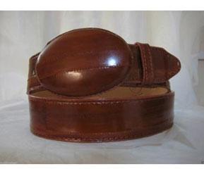 Authentic Faded Cognac Eel Skin Western Cowboy Belt
