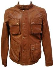 Cognac Lamb Leather Hunting Coat Big and Tall Bomber Jacket