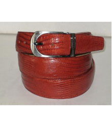 Authentic Cognac Lizard Belt