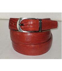 Authentic Cognac Lizard Belt