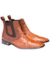 Cognac Vestigium Genuine Ostrich Chelsea Boots