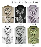 Mens Dress Shirt Set w/ Tie And Handkerchief -Striped Collar