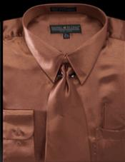 Copper Brown Shiny Satin Dress Shirt Tie