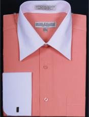 Daniel Ellissa Two Tone Coral French Cuff Dress Shirt Big and Tall Sizes White Collar Two Toned Contrast