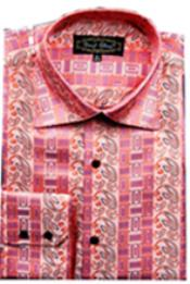 Fancy Shirts CORAL (100% Polyester) Flashy Shiny Satin Silky Touch Salmon