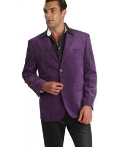 coat 2 Buttons Notch Lapel Cotton Regular Fit Mens Corduroy Purple