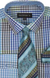 Turquoise Checkered Shirt Tie and Handkerchief