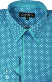 100% Cotton Polka Dot Design Dress Shirt Aqua Turquoise Color