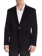 Corduroy Blazer Cotton Regular Fit Black