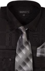 Cotton Geometric Pattern Tie and Handkerchief Black Mens Dress Shirt