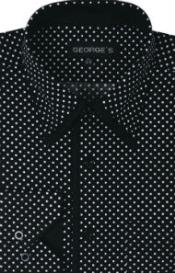 100% Cotton Polka Dot Design Dress Shirt Black