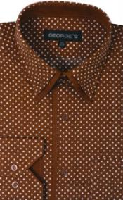 100% Cotton Polka Dot Design Dress Shirt Brown