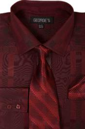 Cotton Geometric Pattern Dress Shirt with Tie and Handkerchief Burgundy ~