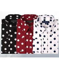 100% Cotton Dress Shirt Polka Dot Pattern Formal Or Casual Multi-color