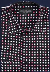 Fancy 100% Cotton Dress Fashion Shirt With Button Cuff Black / Fuschia Mens Dress Shirt