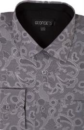 60% Cotton 40% Polyster Spread Collar Dress Shirt Gray