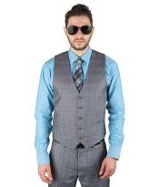 Mens 5 Button Matching Vest + Pleated Or Flat Front Pants Slacks Cotton Blend Plaid Grey