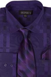 Cotton Geometric Pattern Dress Shirt with Tie and Handkerchief Purple