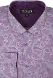 60% Cotton 40% Polyster Spread Collar Dress Shirt Purple