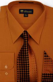 Moda Classic Cotton Ties and Handkerchiefs Rust Mens Dress Shirt