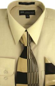 Moda Classic Cotton Ties and Handkerchiefs Sand Mens Dress Shirt