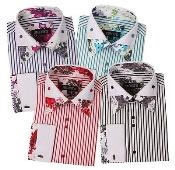 Poly Cotton Floral Design Striped Dress Shirt French Cuff Classic Fit Multi-Color