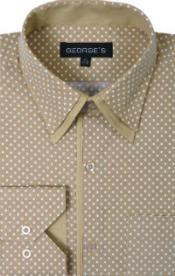 100% Cotton Polka Dot Design Tan Mens Dress Shirt