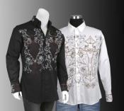 100% Cotton Stylish Casual Embroidered Fashion Dress Shirt Multi-Color
