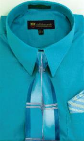 Moda Classic Cotton and Handkerchiefs Turquoise Mens Dress Shirt