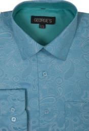 60% Cotton 40% Polyster Spread Collar Turquoise Mens Dress Shirt