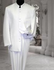 White sale - Cream - Ivory Mandarin Suits For Men