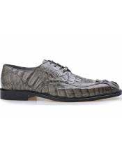 Grey Genuine Hornback Crocodile Leather Lining Chapo Lace Up Shoes