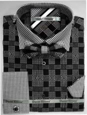 Daniel Ellissa Ds3779BP2 Mens French Cuff Black Mens Dress Shirt