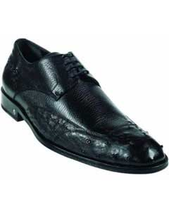 Mens Ostrich Full Quill Skin Black Dress Shoe