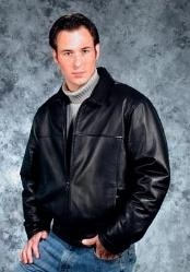 Casual comfort  Black Leather Big and Tall Bomber Jacket