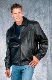 Fashion quality Black Leather Big and Tall Bomber Jacket