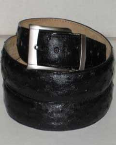 Authentic Black Ostrich Belt
